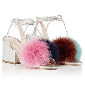 New Loeffler Randall Silver Fur Puff Sandals 7M